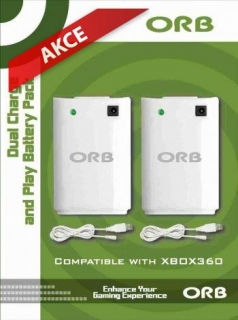ORB Dual Controller Charge & Play Battery Pack White (Xbox 360)